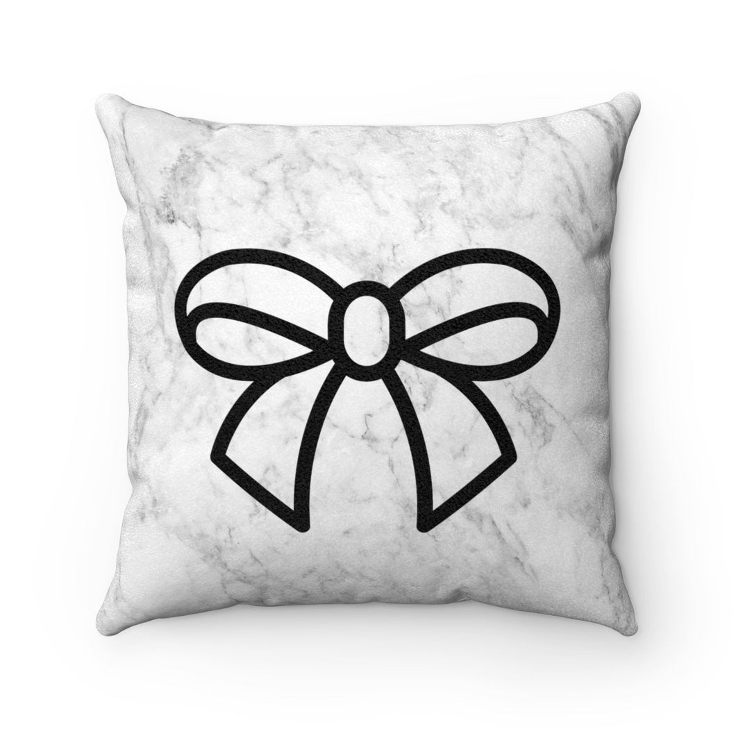 Pillow - Marble and Bows Faux Suede Square Pillow