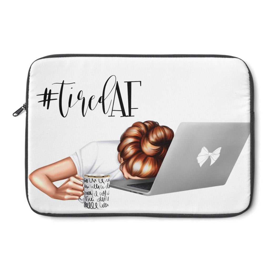 Tired AF Laptop Sleeve - Light Skin - Red Hair - Planner Press Designs