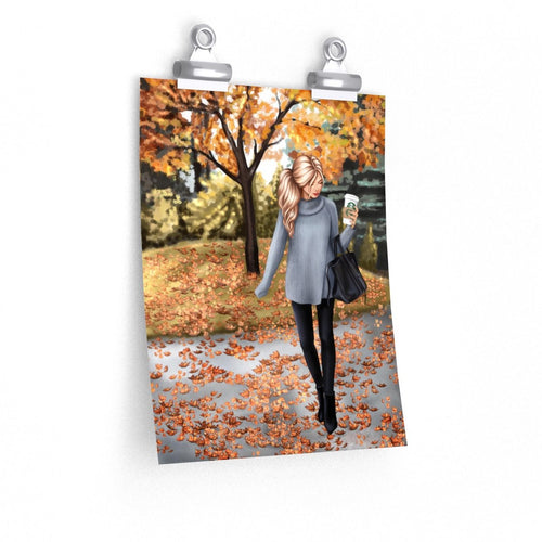 Hello Fall Light Skin Blonde Hair Premium Matte Poster