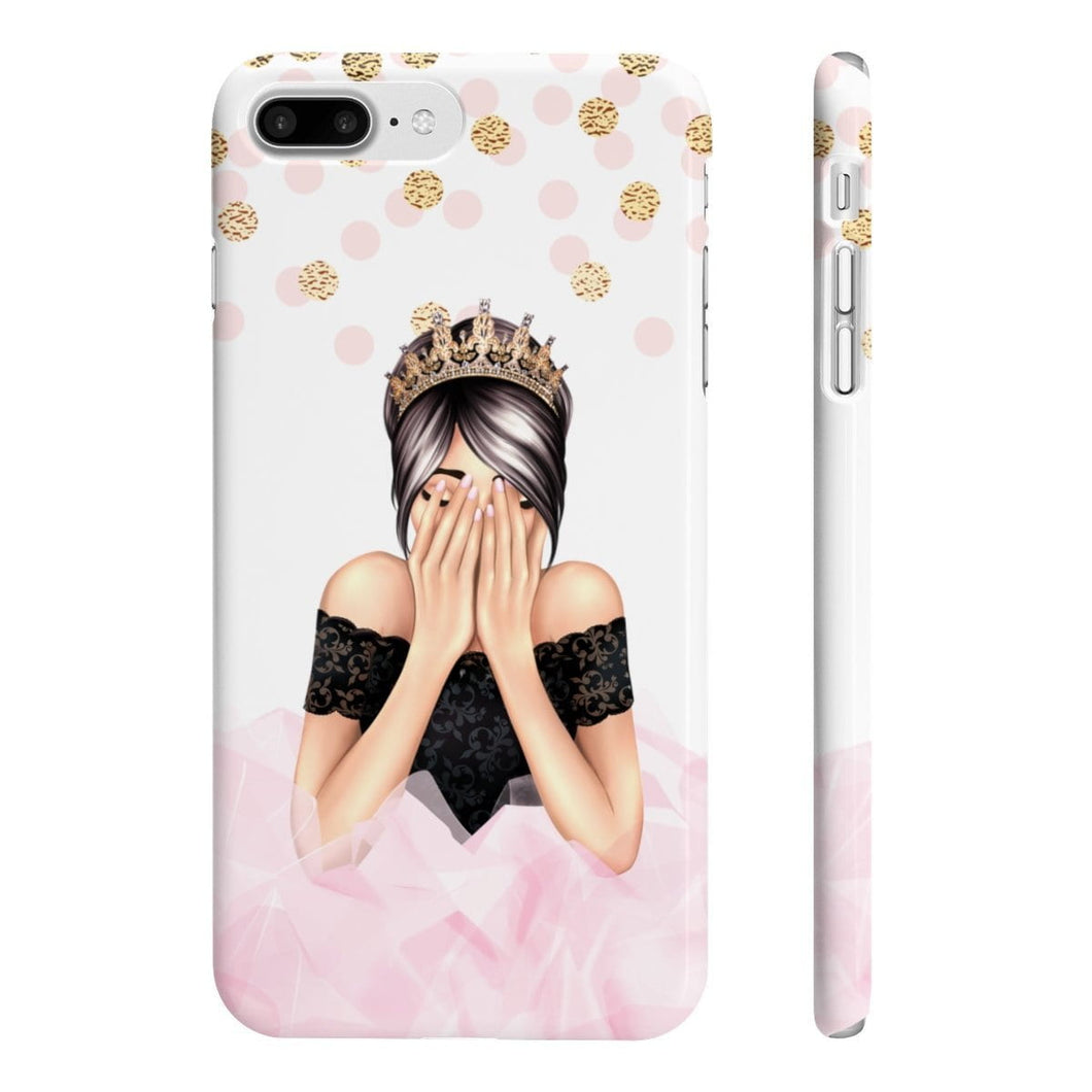 Birthday Girl Light Skin Black Hair iPhone Case - Protective Phone Cover - Planner Press Designs