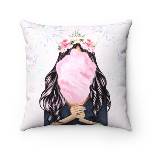 Pillowcase - Cotton Candy Disney Dreams Light Skin Black Hair Faux Suede Square Pillow
