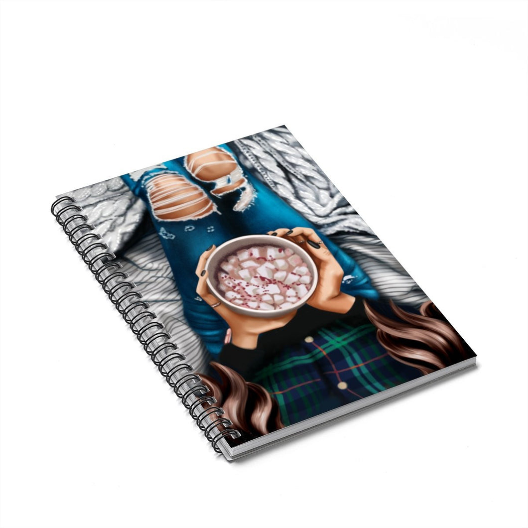 Winter Wishes Light Skin Brown Hair Spiral Notebook - Ruled Line