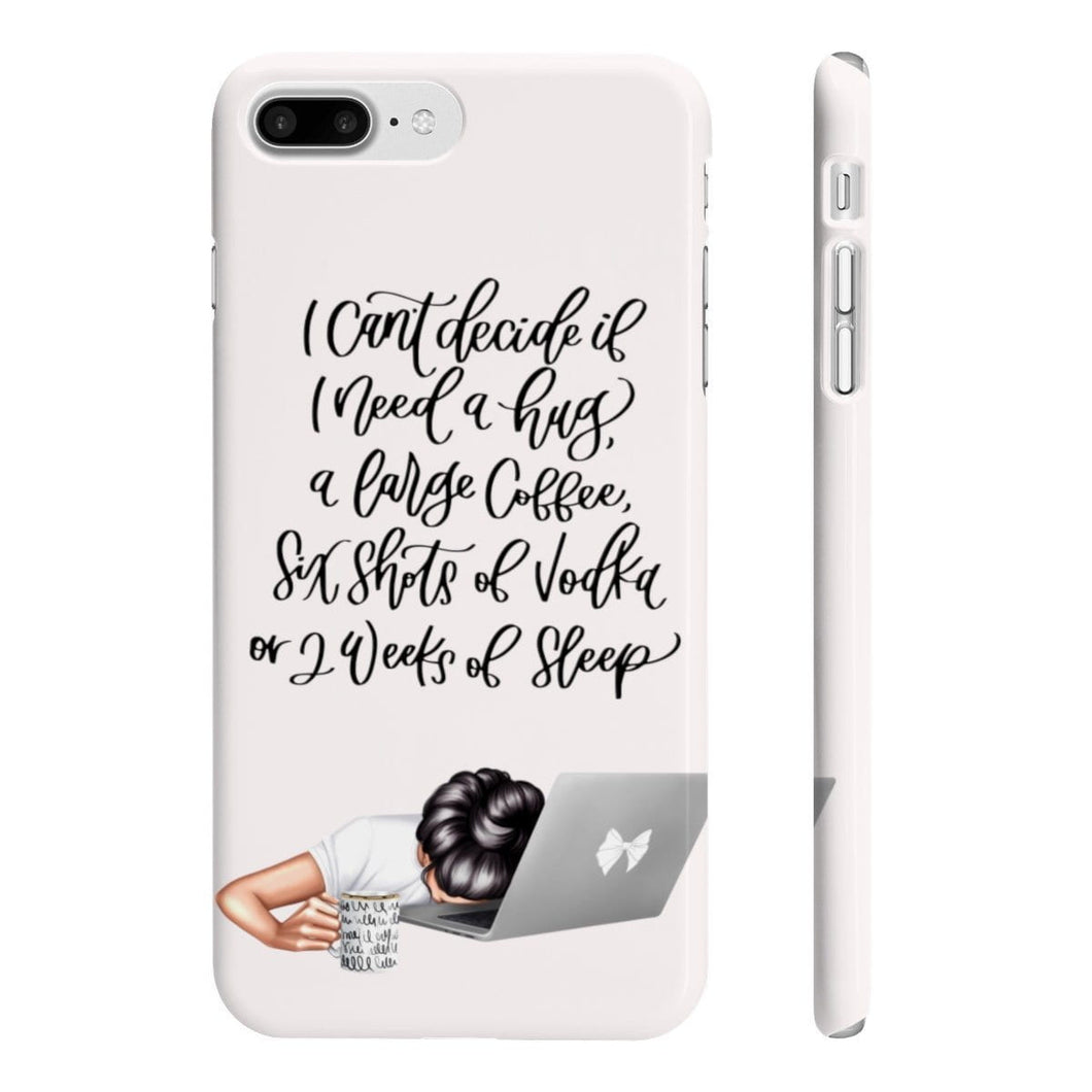 I'm Too Tired Light Skin Black Hair iPhone Case - Protective Phone Cover