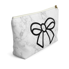 Load image into Gallery viewer, Marble and Bows Accessory Pouch with T-bottom - Pencil Case