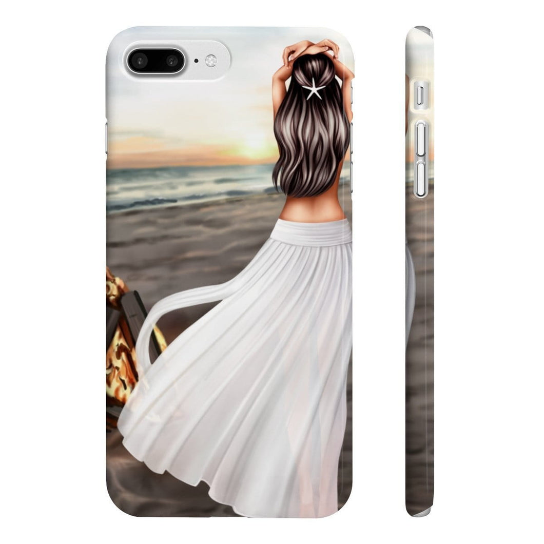 Bonfires and Beaches - Fair Skin Brown Hair iPhone Case - Protective Phone Cover - Planner Press Designs