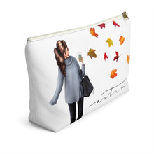 Load image into Gallery viewer, Autumn Fashion Girl Light Skin Brown Hair Accessory Pouch with T-bottom - Pencil Case - Planner Press Designs
