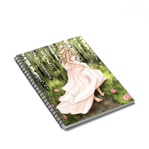 Forest Fiarytale Light Skin Blonde Hair Spiral Notebook - Ruled Line - Planner Press Designs