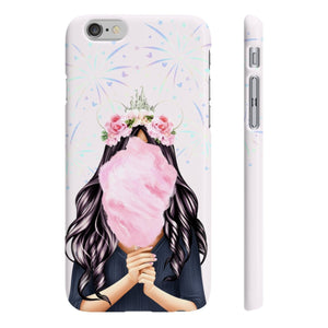 Cotton Candy Dreams Light Skin Black Hair iPhone Case - Protective Phone Cover - Planner Press Designs