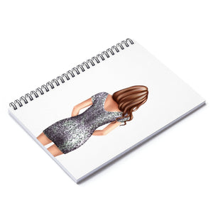 Glitter Girl Light Skin Brown Hair Spiral Notebook - Ruled Line