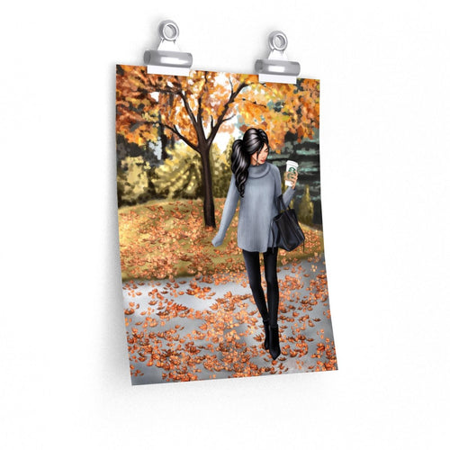 Hello Fall Light Skin Black Hair Premium Matte Poster