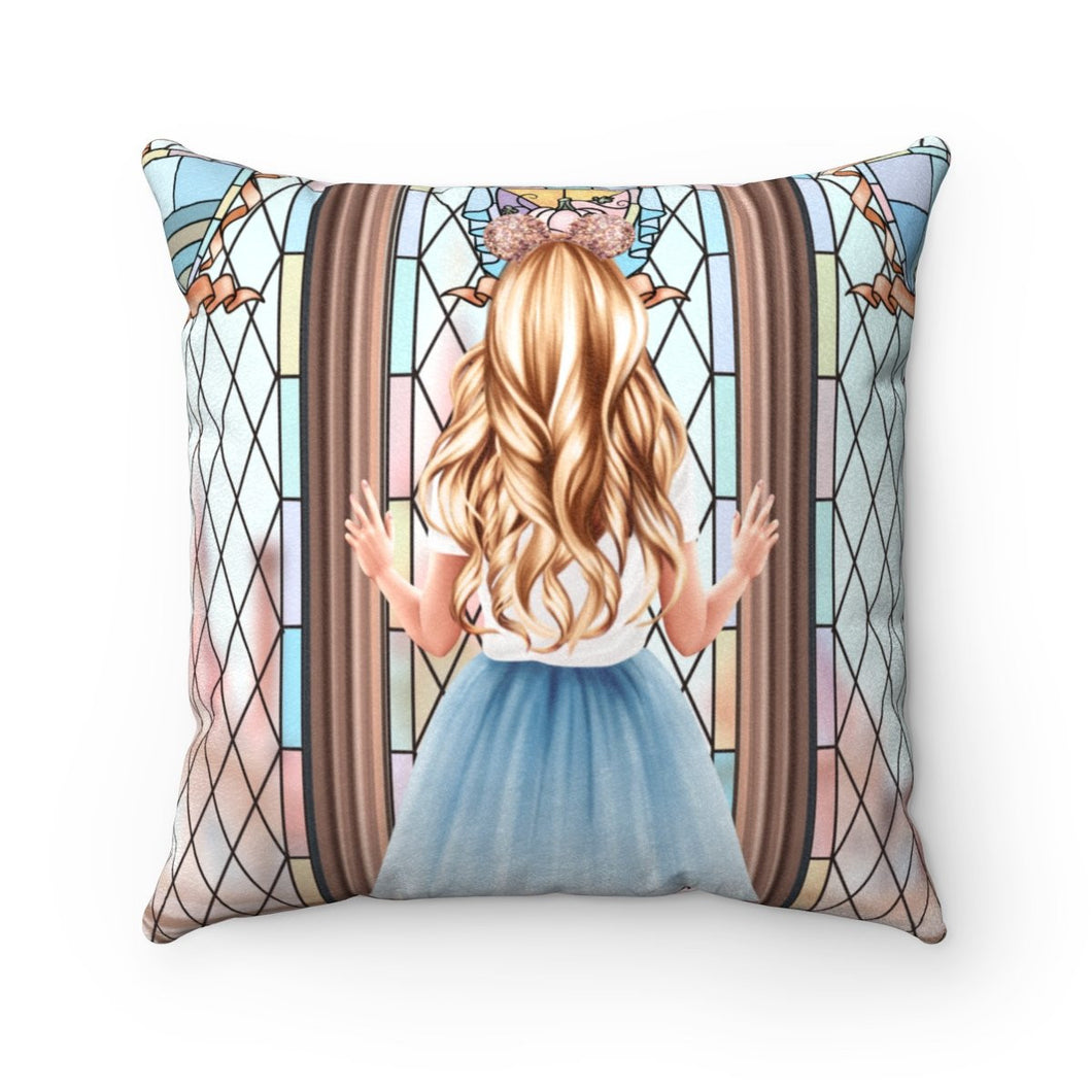 Pillow - Meet Me At The Castle Light Skin Blonde Hair Faux Suede Square Pillow