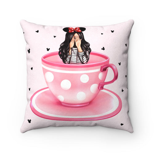 Pillowcase - Pink Teacups Dizzy Light Skin Black Hair Faux Suede Square Pillow