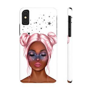 iPhone X Galaxy Girl Dark Skin Pink Hair Case Mate Slim Phone Cases