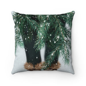 Pillow - Snowy Branches Faux Suede Square Pillow