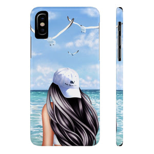 iPhone X Day At The Beach Light Skin Black Hair Case Mate Slim Phone Cases