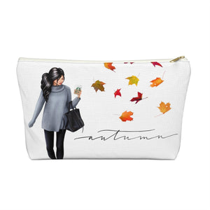 Autumn Fashion Girl Light Skin Black  Hair Accessory Pouch with T-bottom - Pencil Case - Planner Press Designs