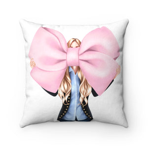 Pillowcase I Like Big Bows Light Skin Blonde Hair Faux Suede Square Pillowcase Covers