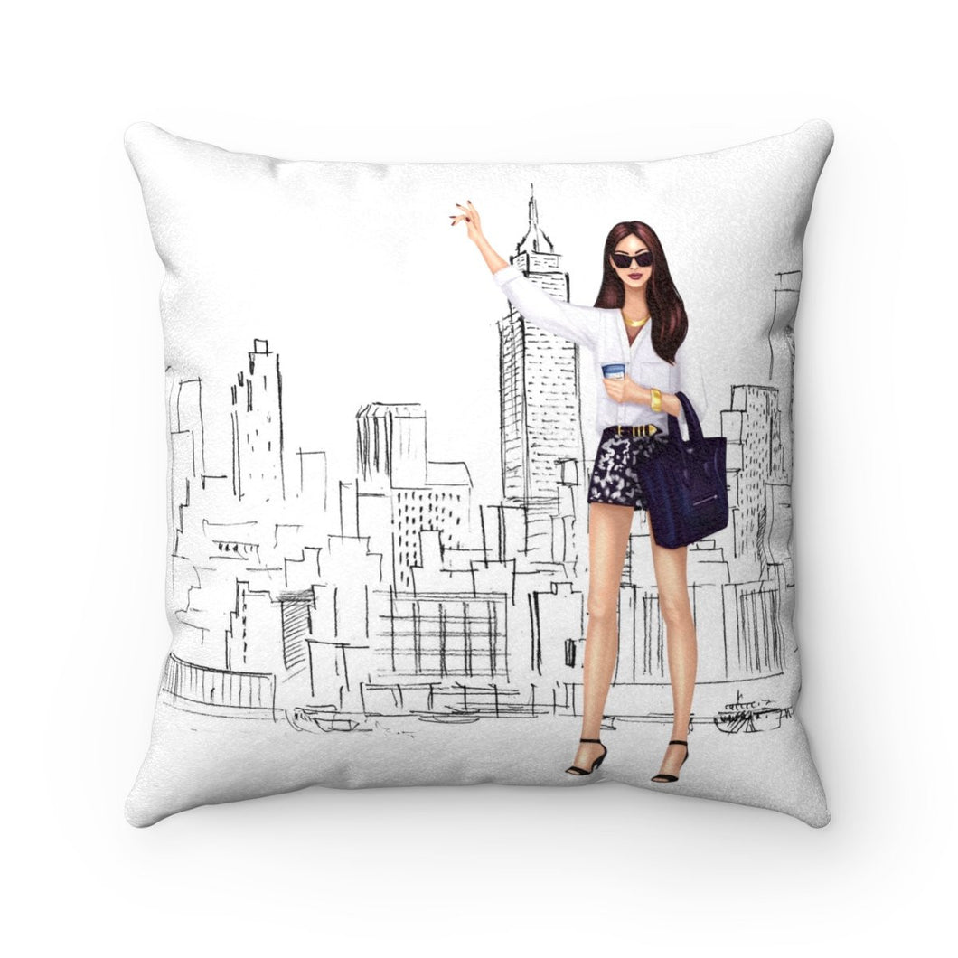 Pillow - Taxi! Light Skin Brown Hair Faux Suede Square Pillow