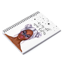 Load image into Gallery viewer, Galaxy Girl Dark Skin Purple Hair Spiral Notebook - Ruled Line - Planner Press Designs