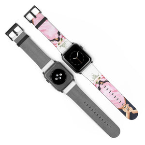 Cotton Candy Dreams Light Skin Black Hair Watch Strap - Apple Watch Replacement Watch Band - Planner Press Designs