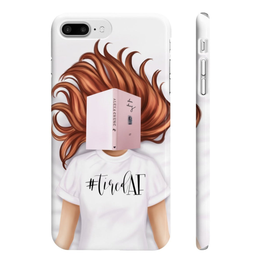 Tired AF Light Skin Red Hair iPhone Case - Protective Phone Cover