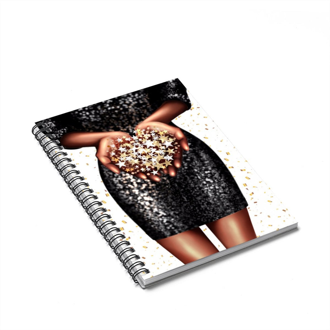 Confetti Girl Dark Skin Spiral Notebook - Ruled Line
