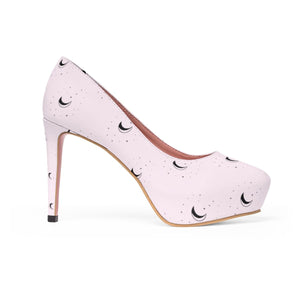 Galaxy Moons Pink Women's Platform Heels