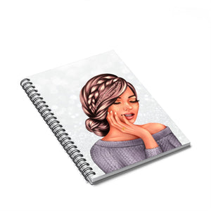 Bows and Makeup Medium Skin Brown Hair Spiral Notebook - Ruled Line - Planner Press Designs