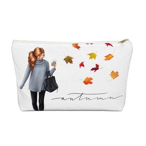 Autumn Fashion Girl Light Skin Red Hair Accessory Pouch with T-bottom - Pencil Case - Planner Press Designs