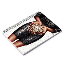 Load image into Gallery viewer, Confetti Girl Dark Skin Spiral Notebook - Ruled Line