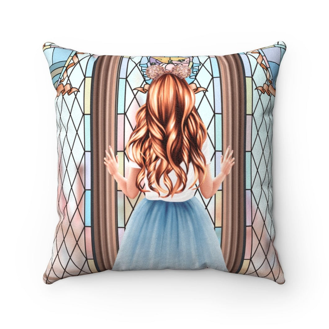 Pillow - Meet Me At The Castle Light Skin Red Hair Faux Suede Square Pillow