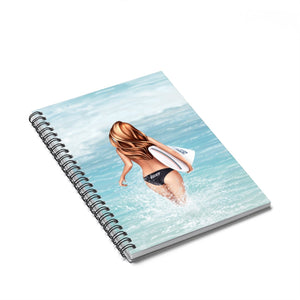 Surfer Girl Light Skin Red Hair Spiral Notebook - Ruled Line