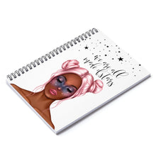 Load image into Gallery viewer, Galaxy Girl Dark Skin Pink Hair Spiral Notebook - Ruled Line - Planner Press Designs