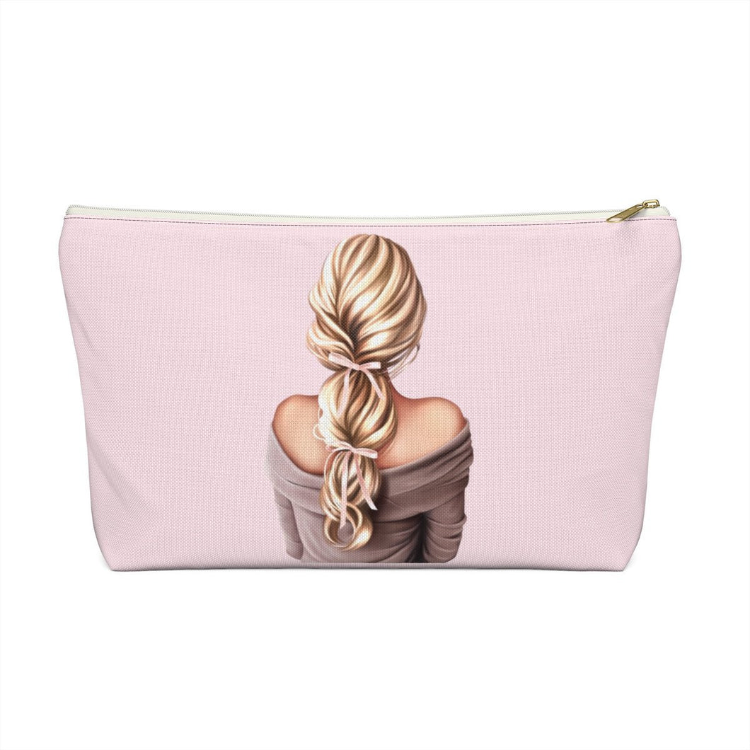 Bows In Her Hair Light Skin Blonde Hair Accessory Pouch with T-bottom - Pencil Case - Planner Press Designs