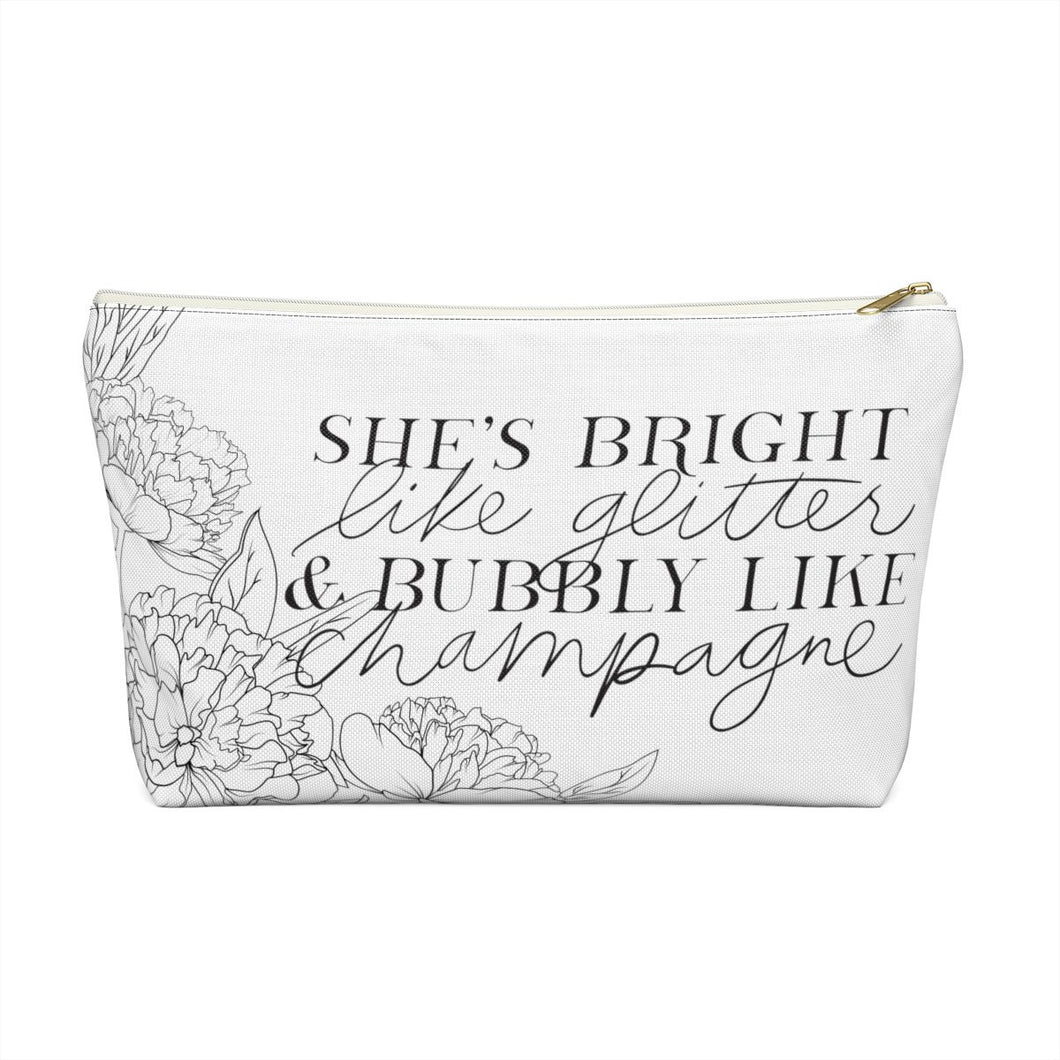 Bright Like Glitter Accessory Pouch with T-bottom - Pencil Case - Planner Press Designs