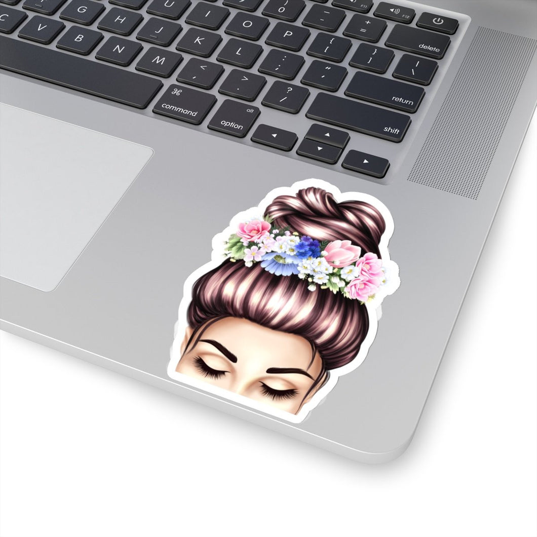 Spring Top Bun Girl Light Skin Brown Hair Vinyl Sticker Decal