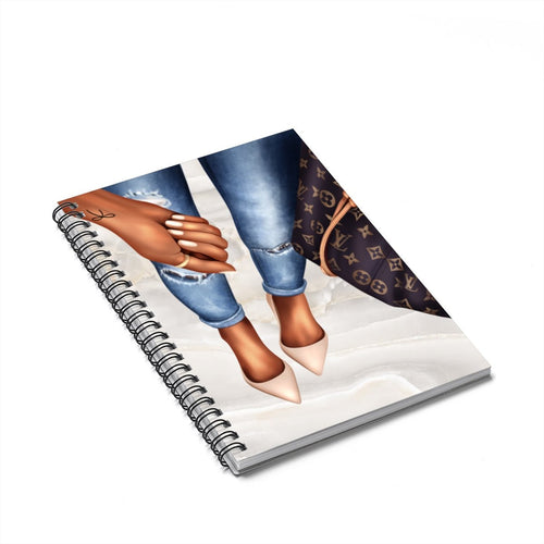 Bows and Bags Dark Skin Spiral Notebook - Ruled Line - Planner Press Designs