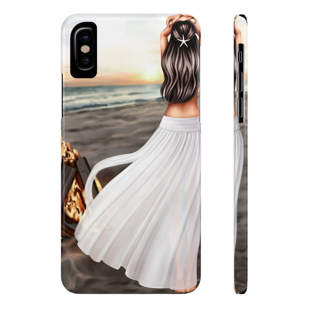 iPhone X Bonfire At The Beach Light Skin Black Hair Case Mate Slim Phone Cases