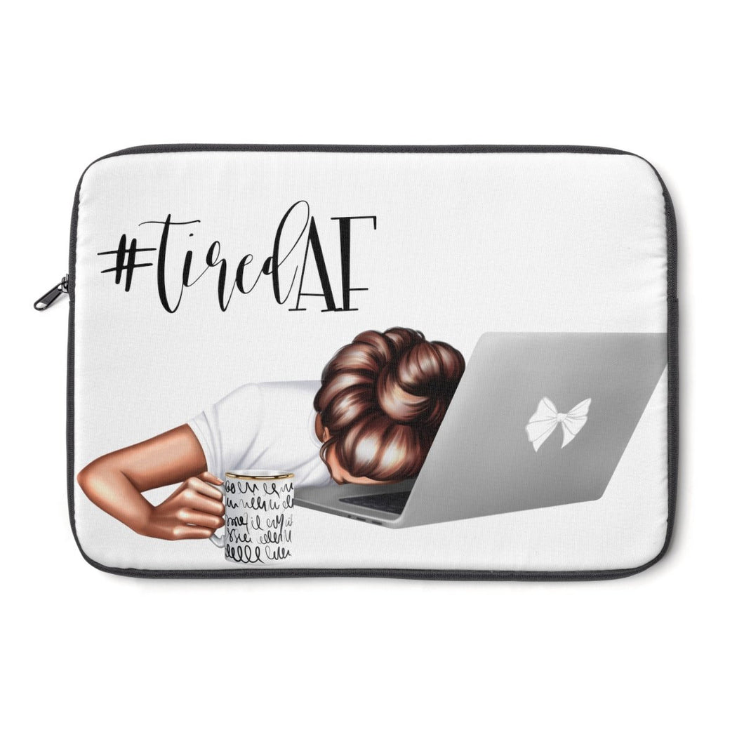 Tired AF Laptop Sleeve - Medium Skin - Brown Hair - Planner Press Designs