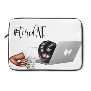 Tired AF Laptop Sleeve - Dark Skin - Black Hair - Planner Press Designs
