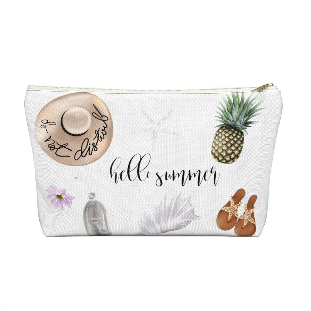 Hello Summer Beach Essentials Accessory Pouch with T-bottom - Pencil Case