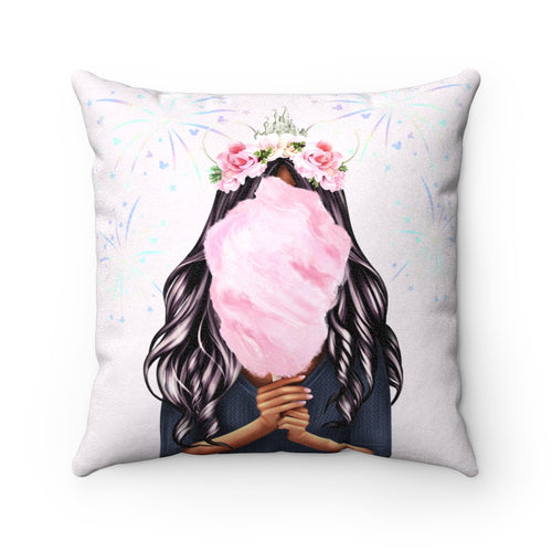 Pillowcase - Cotton Candy Disney Dreams Dark Skin Black Hair Faux Suede Square Pillow