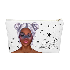 Galaxy Girl Dark Skin Purple Hair Accessory Pouch with T-bottom - Pencil Case