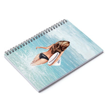 Load image into Gallery viewer, Surfer Girl Light Skin Brown Hair Spiral Notebook - Ruled Line