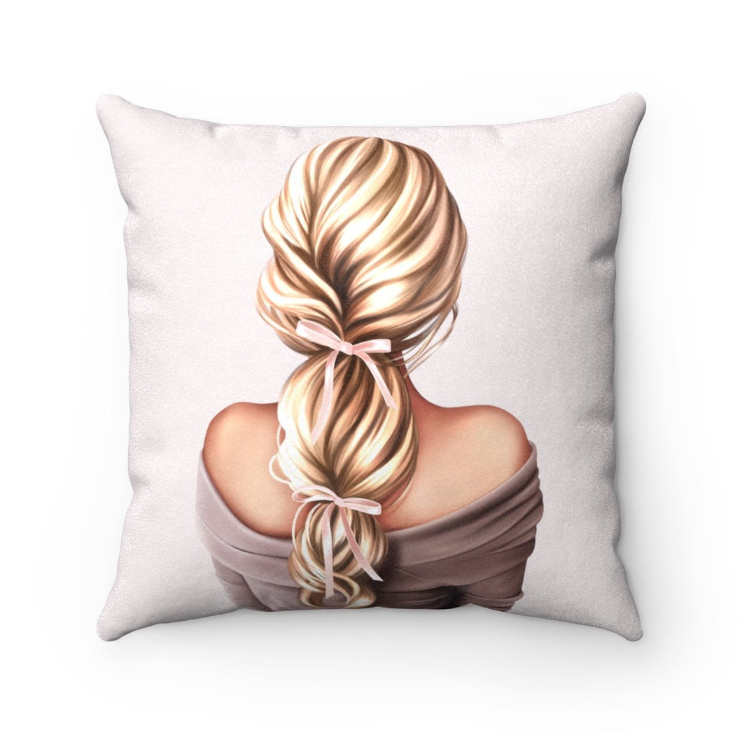 Pillow - She Had Bows In Her Hair Light Skin Blonde Hair Faux Suede Square Pillow