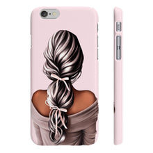 Load image into Gallery viewer, Bows In My Hair Dark Skin Black Hair Phone Case - Protective Phone Cover - Planner Press Designs