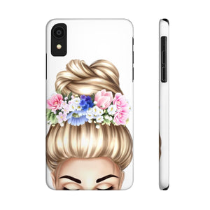 iPhone X Flowers in Her Hair Light Skin Blonde Hair Case Mate Slim Phone Cases