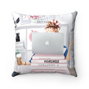 Pillowcase - Girl Boss Working Light Skin Blonde Hair Faux Suede Square Pillow