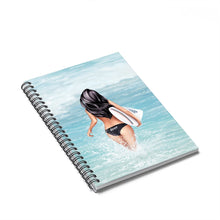 Load image into Gallery viewer, Surfer Girl Light Skin Black Hair Spiral Notebook - Ruled Line