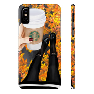 iPhone X Fall Leaves and Coffee Light Skin Case Mate Slim Phone Cases
